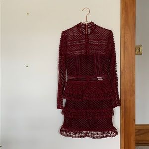 Maroon Self-Portrait L/S Tiered Lace Dress